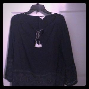 Navy smocked top with bell sleeves